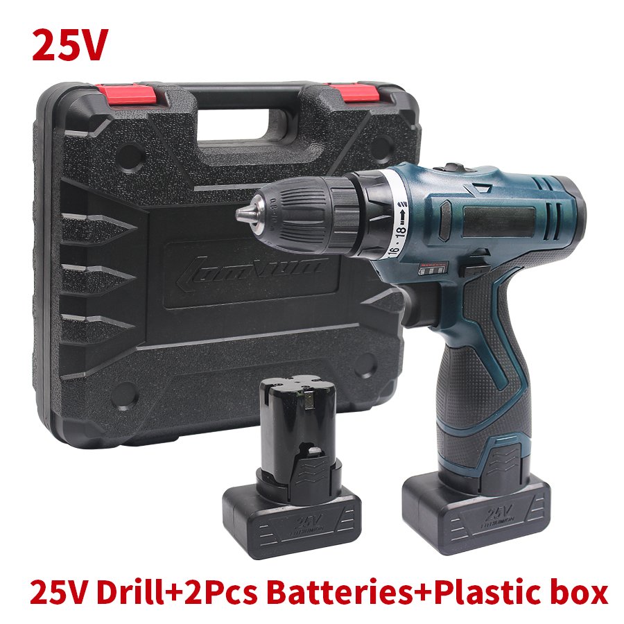 25V Cordless Screwdriver Rechargeable Electric Drill Multi-function 2 Lithium Batteries Electric Screwdriver Power Tools <br><br>Aliexpress