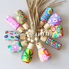 MIX DESIGN Craft Car Perfume Bottle Hanging Cute Air Freshener Carrier Home Fragrance Polymer Clay Bottle 100pcs/lot