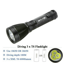 High Power Diving led flashlight cree xml 3t6 under water lamp IPX8 Scuba lantern 18650 or 26650 battery torch linternas(China)