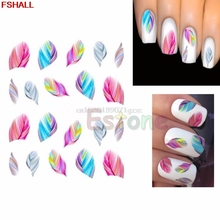 sticker Colorful Feather Nail Art Water Transfer Decal Stickers Tips Rainbow Dreams Practical #H027#(China)