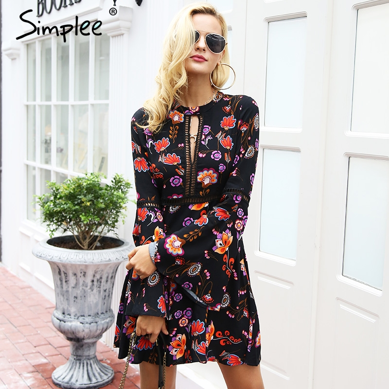 Simplee Vintage hollow out button floral print dress Flare sleeve o neck women dress female autumn winter dress robe vestidos Платье
