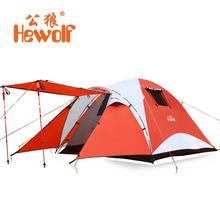 Hewolf Waterproof Beach Fishing Tents 4 Person Outdoor Camping Tent Travel Family Tourist Tent Hiking 4 Season Double Layer