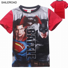 3-9 Ages Children Boys Tops Tees Shirts New Batman v Superman Children Short Clothes 100% Cotton Fashion Boys T Shirt SAILEROAD