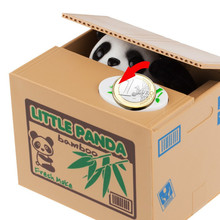 Lovely Cute Panda Automatic Stole Coin Piggy Bank 11.5x9.5x9cm Size Money Saving Box Moneybox Gifts for Kids