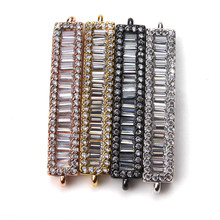 1pc 33*6mm Copper Crystal Tube Jewelry Connector Gold Silver Black Bracelet Charms Women Jewelry Accessories Findings