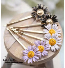 TS368 2017 Hot New Fashion small daisy flowers sunflower edge clip hairpin Wholesale Factory Direct