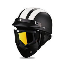 Open Face Vintage Motorcycle Helmets Jet Fashion Leather Women Biker Scooter Motorcycle Half Face Helmet Retro + Motor Goggles(China)
