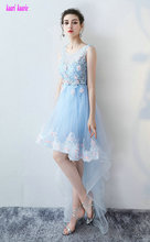 Glamorous Sky Blue Prom Dresses 2017 Sexy Scoop Sleeveless Tulle Appliques Prom Party Gown Short Cocktail Dress Custom Made(China)