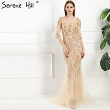 Luxury Sexy Gray Handmade Hard Working Crystal Mermaid Evening Dresses Long Tulle Half Sleeves 2017 Robe De Soiree Real Photo