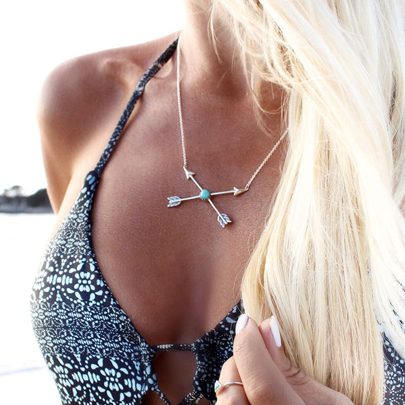 N997-Clavicle-Women-Necklace-Boho-Vintage-Arrow-Cross-Lucky-Arrows-Turquoies-Pendant-Colar-Everyday-Fashion-Jewelry