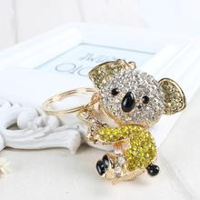 Koala Yellow Bear Charm Pendant Cute Crystal Purse Bag Keyring Key Chain Women In Apparel & Accessories Substantial Gift