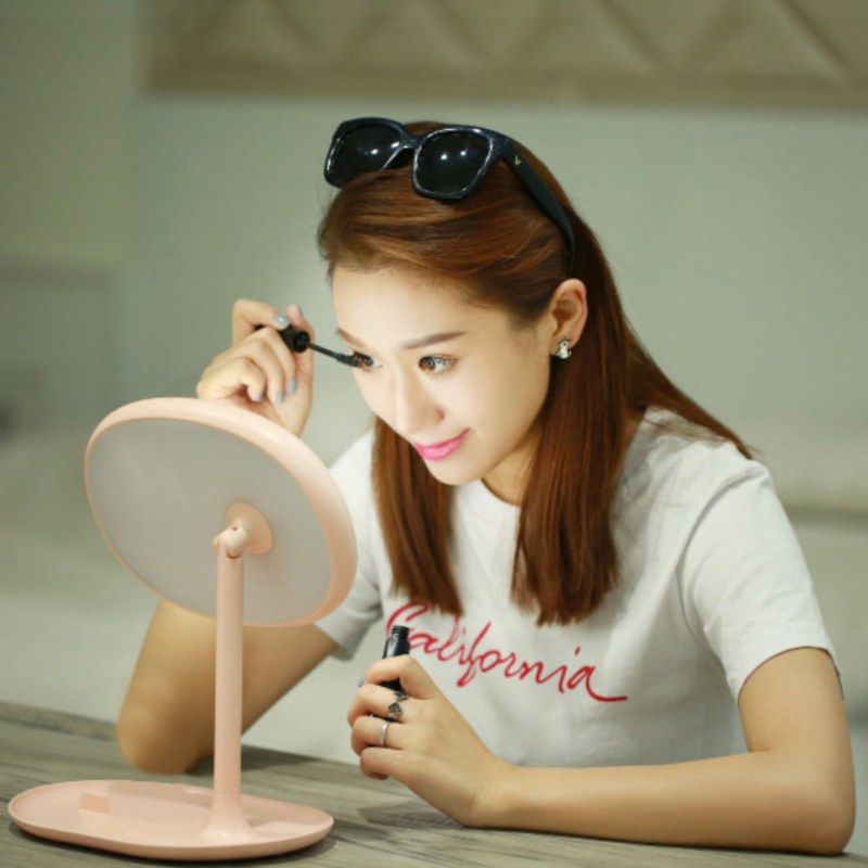 Desktop Sensor Lighted Makeup Mirror Rotatable Desk Stand USB Battery LED Lamp<br>