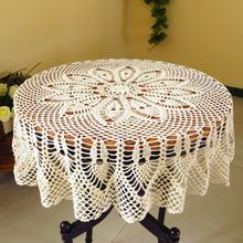ONE LIKE YOU Handmade Round Table Cloth Crochet Knitting Classic Flower Pattern Table Cloth Overlay Hot Coffee Bar Table Cover