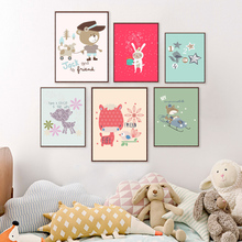 Cute Animal Cartoon Canvas Painting Wall Stickers For Kids Rooms Baby Room Wall Picture Poster For Home Decoration Paintings(China)