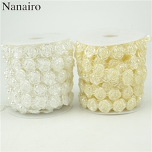 2Meters/Lot Beige/ White Fishing Line Artificial Pearls Beads Chain Garland Flowers For Wedding Bridal Bouquet Flower Decoration(China)