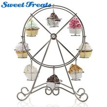 Sweettreats 8-Cup Metal Rotating Ferris Wheel Cupcake and Dessert Stand Holder, Chrome Finish, Updated Larger Cup Size(China)