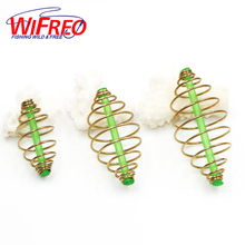 Wifreo 6PCS inline Bait Feeder Spring for Carp Fishing Fresh & Saltwater Fishing Rig Bait Feeder Cages & Method Leader S M L(China)