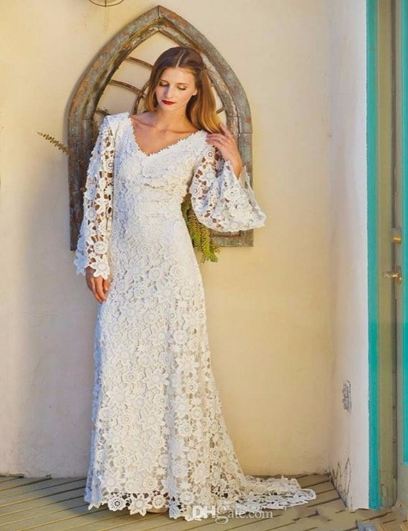Bohemian Style Lace Wedding Dresses 2019 Long Sleeves V Neck Sexy Backless Summer Beach Bridal Gowns Boho Bridal Wedding Dress
