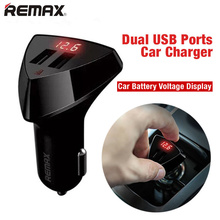 Remax 3.4A Fast Dual USB Car Charger Auto Charging Lighter Adapter Battery Voltage Digital Display For Iphone Xiaomi Car-Charger(China)