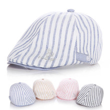 New Cotton&Linen Baby Hat Handsome Striped Cap Beret Baby Boy Accessories for 1-2 Years 1 Piece