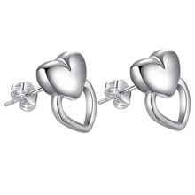 50% OFF ON 2018 best selling popular fashion heart silver plated earrings women girl gift hot cute butterfly wholesale factory(China)