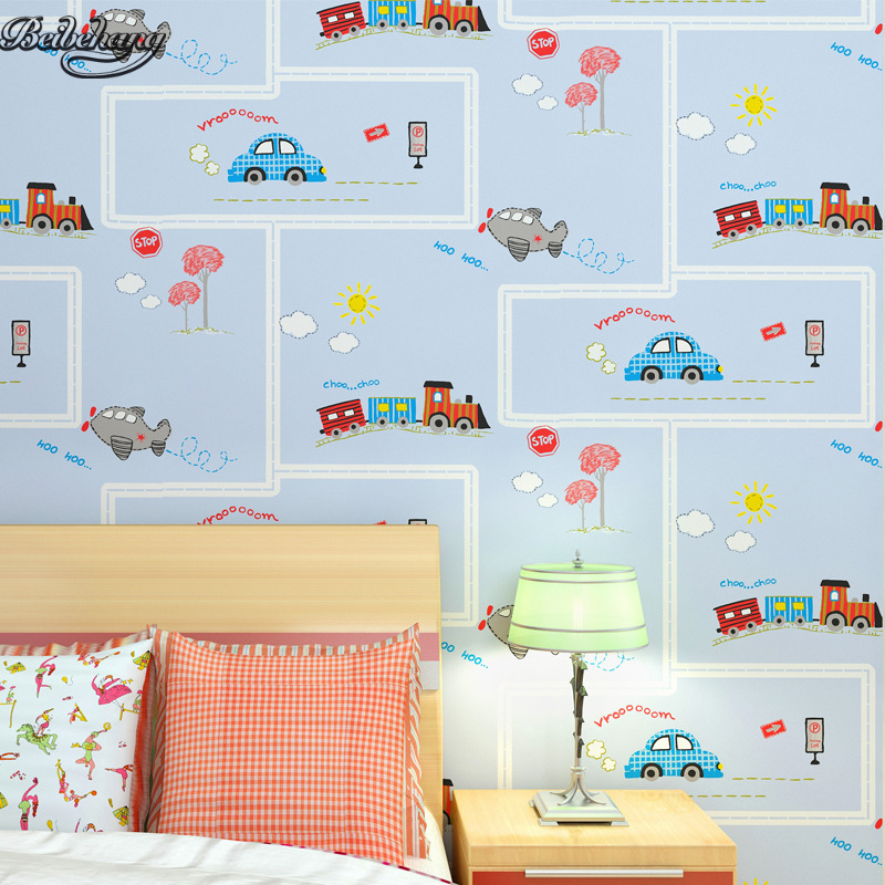 beibehang Children room non - woven wallpaper wallpaper blue stripes car environmental health boy girl study bedroom wallpaper<br>