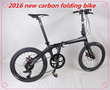 2016 New design 20 inch full carbon folding bike, super light complete folding bicycle for men or women with OEM design