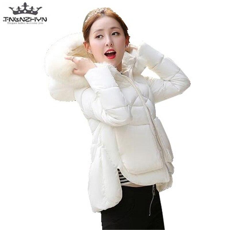 tnlnzhyn 2017 New Winter Women Coat Fake Fur Collar Down Cotton Jacket Thick Hooded Women Winter Coat Warm Short Jacket  Y446Îäåæäà è àêñåññóàðû<br><br>