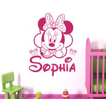 Personalized Name carton Wall Decal Mickey Mouse Decals Room Girl Nursery Decor os1454 free shipping