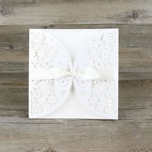 30pcs/lot Lace Ribbon Bow knot Wedding Invitation Card Vintage Laser cut White Hollow Flowers Blank Inside with Envelope Ideas