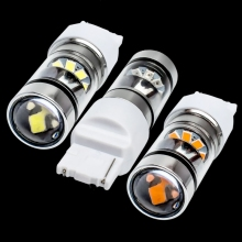 New Super Bright T20 7440 W21W WY21W Double Reflector Cup LED Car Brake Light Auto DRL Driving Lamp Turn Signal white red yellow