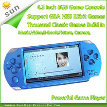 Free Shipping handheld Game Console 4.3 inch screen mp4 player MP5 game player real 8GB support for psp game,camera,video,e-book(China)