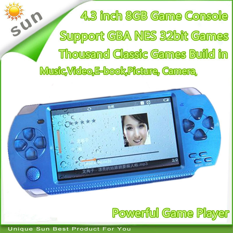 Free Shipping handheld Game Console 4.3 inch screen mp4 player MP5 game player real 8GB support for psp game,camera,video,e-book(China (Mainland))