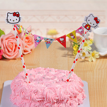 Hello Kitty Cupcake Topper Banner Bunting For Birthday Party Boy Girl Baby Shower Kids party Decoration