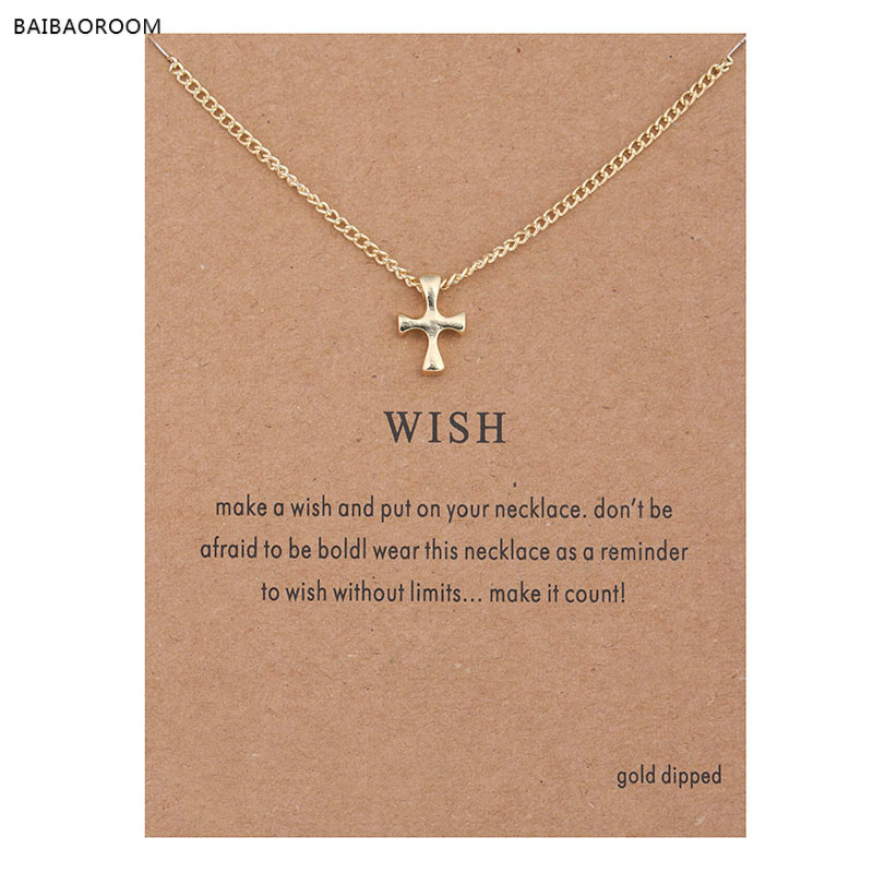 Hot Sale Sparkling Wish Cross Pendant necklace gold plated Clavicle Chains Statement Necklace Women Jewelry(Has card)
