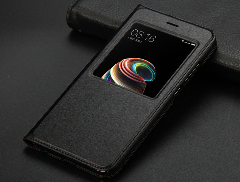 view quick answer open window leather flip case for xiaomi mi A1 mi 5x   14