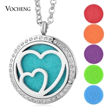 30mm 316L Stainless Steel Perfume Locket Necklace Pendant Double Heart Crystal Magnetic Random Send 5pcs Oil Pads as Gift VA-274(China)