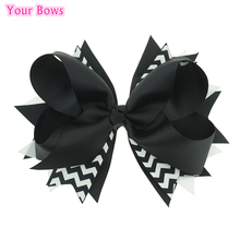 Your Bows 1PC 8 Inches Big Grosgrain Ribbon Hair Bows White Black Kids Girls Bows Hairpins Children Hair Clip For Kids(China)