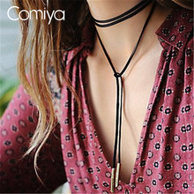 Comiya Brown Flannelette Pendants Choker Necklaces For Women Collares Mujer Cowboy Stylish Personality Accessories Gold Color
