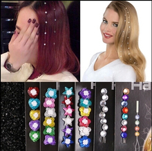Newest Gem hair extension hair jewelry crystal flash trendy bride hair maker colorful decoration acrylic glass stone women girls