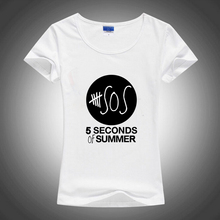 Summer Slim Style 5SOS 5 Seconds of Summer 2016 Women Sublimation Ink Print T-shirt Harajuku Vogue Female White Printed Tshirt(China)