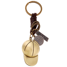 Bronze Plated Baseball Cap Style Keychain Bag Keyfobs Charm Men Punk Car Key Chain Ring Holder Novelty Jewelry Women Gift FY059