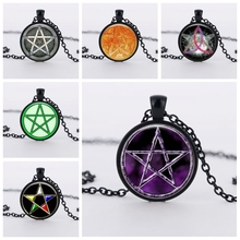 SUTEYI Bestselling Purple Pentagram necklace witchcraft glass dome picture pendant hidden charm handmade necklaces jewelry(China)