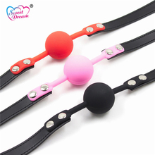Sweet Dream Adult Silicone Mouth Ball Gag Lock Buckle BDSM Bandage Restraints Toys Sex Toys For Woman Sex Products DW-108(China)