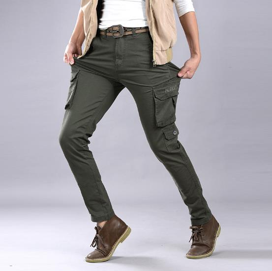 Cotton Casual Mens Cargo Pants  Big Pockets Decoration Washed Military Joggers Male  Stretch Autumn Winer Pants 28-38