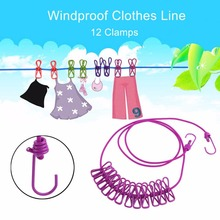 6 Colors Portable Outdoor Travel Windproof Clothes Line Drying Rack 12 Clamp Clip Socks Underwear Clothing Clip Holder Hanging(China)