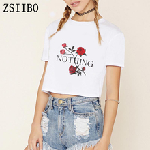 ZSIIBO ZWO001 Nothing Rose Girl Power Tshir  T Shirt  Harajuku T-Shirt Short Sleeve TShirt Plus Size Punk Shirts