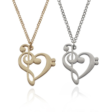 Gold Silver 2 Color Love Couple Necklace Jewelry Charms Heart Music Note Pendant Chokers Necklaces Gift For Women Dropshipping