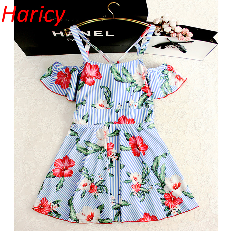 Flower Swimsuit Female 2018 Sexy Ruffle Swimwear Women Padded One Pieces Swimming Suit Printed Cross Bandage Bathing Suit<br>