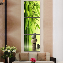 3 Pcs/Set Artist Canvas Still Life painting Bamboo and Stone vertical forms Canvas Prints Wall Pictures for Living Room Picture(China)